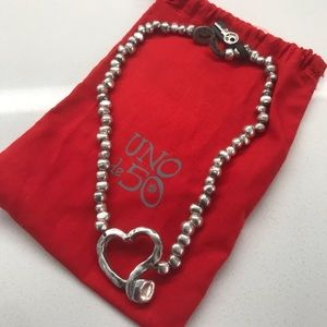 Uno de 50 Heavy Heart Necklace authentic dust bag